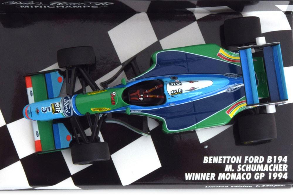 1:43 Minichamps benetton ford b194 winner gp Mónaco schumacher 1994