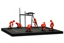 PIT STOP Set 6 Mecanicos + Equipamiento + Calcas Marlboro - Ixo Models Escala 1:43 (FIG001SET)