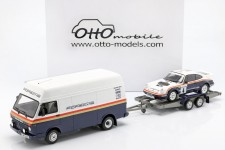 SET Rally 1000 Pistes 1984 Porsche 911 SC RS / VW LT35 Servicio / Trailer - Otto Escala 1:18 (OT331)