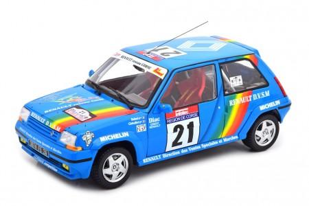 RENAULT R5 Supercinque GT Turbo Rally Tour de Corse 1990 Cirindini / Balesi - Norev Escala 1:18 (185217)